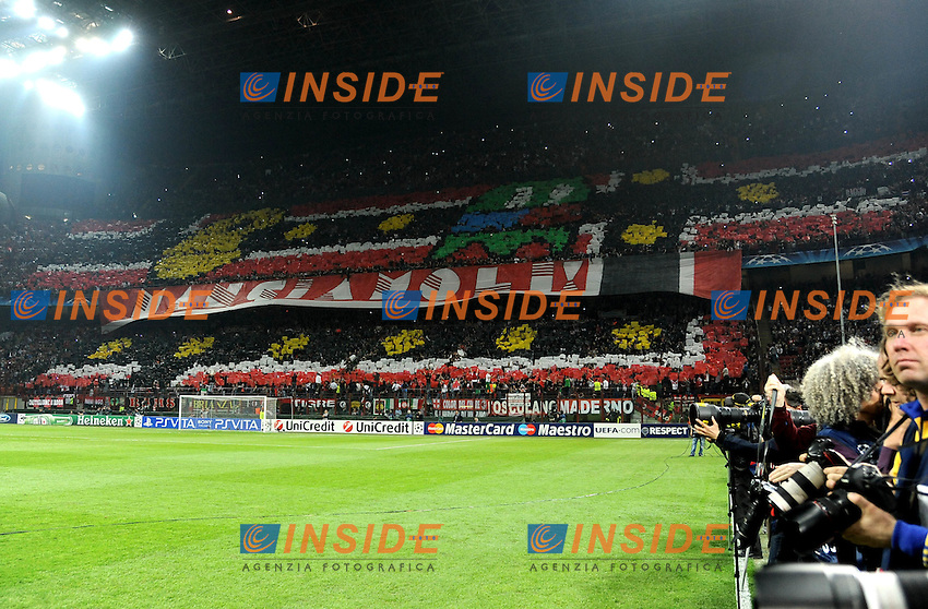 "Coreografia curva del milan (Milan).Milano 28/03/2012 Stadio ""Giuseppe Meazza"".Champions League 2011/2012.Football Calcio Milan Vs Barcellona.Foto Insidefoto Alessandro Sabattini."