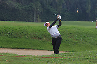 Phachara Khongwatmai (Asia) plays out of a bunker on the 6th fairway during the Saturday Foursomes of the Eurasia Cup at Glenmarie Golf and Country Club on the 13th January 2018.<br /> Picture:  Thos Caffrey / www.golffile.ie