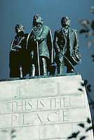 Mormon Pioneers on the This Is The Place Monument in Emmigration Canyon, Salt Lake City, Utah. detail of three male figures, sculpture, art. Salt Lake City Utah.