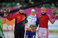 SCHAATSEN: HAMAR: Vikingskipet, 11-01-2014, Essent ISU European Championship Allround, podium 500m Ladies, Karolina Erbanová (CZE), Ireen Wüst (NED), Yuliya Skokova (RUS), ©foto Martin de Jong