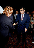 "Montreal (Qc) CANADA - File Photo - May 1996 -<br /> <br /> Lucien Bouchard,  Leader Parti Quebecois (from Jan 29, 1996 to March 2, 2001). seen in a May 1996 file photo <br /> After the Yes side lost the 1995 referendum, Parizeau resigned as Quebec premier. Bouchard resigned his seat in Parliament in 1996, and became the leader of the Parti Qu»b»cois and premier of Quebec.<br /> <br /> On the matter of sovereignty, while in office, he stated that no new referendum would be held, at least for the time being. A main concern of the Bouchard government, considered part of the necessary conditions gagnantes (""winning conditions"" for the feasibility of a new referendum on sovereignty), was economic recovery through the achievement of ""zero deficit"". Long-term Keynesian policies resulting from the ""Quebec model"", developed by both PQ governments in the past and the previous Liberal government had left a substantial deficit in the provincial budget.<br /> <br /> Bouchard retired from politics in 2001, and was replaced as Quebec premier by Bernard Landry."