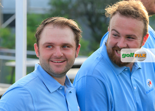 European Team players Andy Sullivan and Shane Lowry joke about before Pro-Am Day of the 2016 Eurasia Cup held at the Glenmarie Golf &amp; Country Club, Kuala Lumpur, Malaysia. 14th January 2016.<br /> Picture: Eoin Clarke | Golffile<br /> <br /> <br /> <br /> All photos usage must carry mandatory copyright credit (&copy; Golffile | Eoin Clarke)