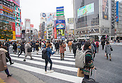 Views of the famous Shibuya Crossing, or Shibuya Scramble, in the morning in Tokyo.