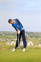 Andrew McGee (Powerscourt) on the 2nd tee during the Quarter Finals of The South of Ireland in Lahinch Golf Club on Tuesday 29th July 2014.<br /> Picture:  Thos Caffrey / www.golffile.ie