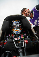 Mar 16, 2019; Gainesville, FL, USA; NHRA photographer Gary Nastase photobombs top fuel driver Austin Prock during qualifying for the Gatornationals at Gainesville Raceway. Mandatory Credit: Mark J. Rebilas-USA TODAY Sports