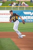 Josh Rutledge (8) of the Salt Lake Bees on defense against the Colorado Springs Sky Sox in Pacific Coast League action at Smith's Ballpark on May 22, 2015 in Salt Lake City, Utah.  (Stephen Smith/Four Seam Images)