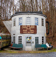 A coffee pot shaped building offering canoe river tours near Lexington, Virginia.