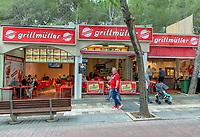 Restaurant Grillmüller von Reality-Star, Dschungelkönigin und Ballermann-Star Melanie Müller an der Promenade von Paguera - Peguera 25.05.2019: Mallorca