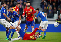 Spain Sergio Ramos, bottom, falls on the pitch last his teammates Spain&rsquo;s Diego Costa, center, Gerard Pique&rsquo;, second from right, and Italy Andrea Barzagli, left, Leonardo Bonucci, second from left, and Alessandro Florenzi, during the Fifa World Cup 2018 qualification soccer match between Italy and Spain at Turin's Juventus Stadium, October 6, 2016. The game ended 1-1.<br /> UPDATE IMAGES PRESS/Isabella Bonotto