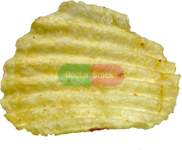 close up of ridged ruffle potato chip on shadowless white background