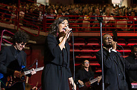NWA Democrat-Gazette/BEN GOFF @NWABENGOFF<br /> The University of Arkansas Soul Band, including Jordan Strickland on guitar, Ashlee Steffen on vocals and Dekarius Dawson on vocals, performs 'I'll Take You There' to honor the song's writer Al Bell (not pictured) Saturday, May 11, 2019, during the University of Arkansas all university commencement ceremony in Bud Walton Arena in Fayetteville. An award-winning songwriter and record producer from Arkansas, Bell was presented an honorary degree during the commencement.