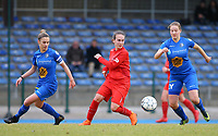 20191221 - WOLUWE: (From left to right) Gent's Sofie Vanhooren,  Woluwe's Allison Verhoeven and (right) Gent's Emilie Claerbout are in action during the Belgian Women's National Division 1 match between FC Femina WS Woluwe A and KAA Gent B on 21st December 2019 at State Fallon, Woluwe, Belgium. PHOTO: SPORTPIX.BE | SEVIL OKTEM