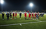 Ahly Al-Khalil football club's players celebrate after a football match crucial AFC Champions League Playoff phase with FC Khujand club's at Dura Stadium in the West Bank city of Hebron on Feb. 09, 2016. Mahmoud Wadi claimed the only goal of the game in the 21st minute, when he had the time and space to pick his spot after good work down the right from Khaldun Halman set him up to score from close range. Victory means Ahly Al-Khalil will feature in Group D of this season's continental championship, where they will face Bahrain's Al Muharraq, Fanja from Oman and Syrian side Al Jaish, winners of the inaugural AFC Cup in 2004. Photo by Wisam Hashlamoun