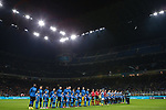 The teams and officials line up before kick off during the Coppa Italia match at Giuseppe Meazza, Milan. Picture date: 12th February 2020. Picture credit should read: Jonathan Moscrop/Sportimage