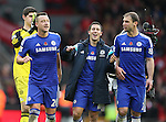 John Terry, Eden Hazard and Branislav Ivanovic of Chelsea celebrate the win  - Barclays Premier League - Liverpool vs Chelsea - Anfield Stadium - Liverpool - England - 8th November 2014  - Picture Simon Bellis/Sportimage