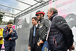The Prime Minister Giuseppe Conte paid a visit to the Corsa Rosa today pictured with Vincenzo Nibali (ITA) Bahrain-Merida at sign on before Stage 5 of the 2019 Giro d'Italia, running 140km from Frascati to Terracina, Italy. 15th May 2019<br /> Picture: Massimo Paolone/LaPresse | Cyclefile<br /> <br /> All photos usage must carry mandatory copyright credit (© Cyclefile | Massimo Paolone/LaPresse)