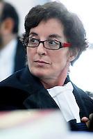 L'Aquila. la seconda udienza del processo alla commissione grandi rischi. 1°ottobre 2011.L'avvocato Alessandra Stefano, difensore di Gian Michele Calvi, direttore di Eucentre e responsabile del progetto Case.