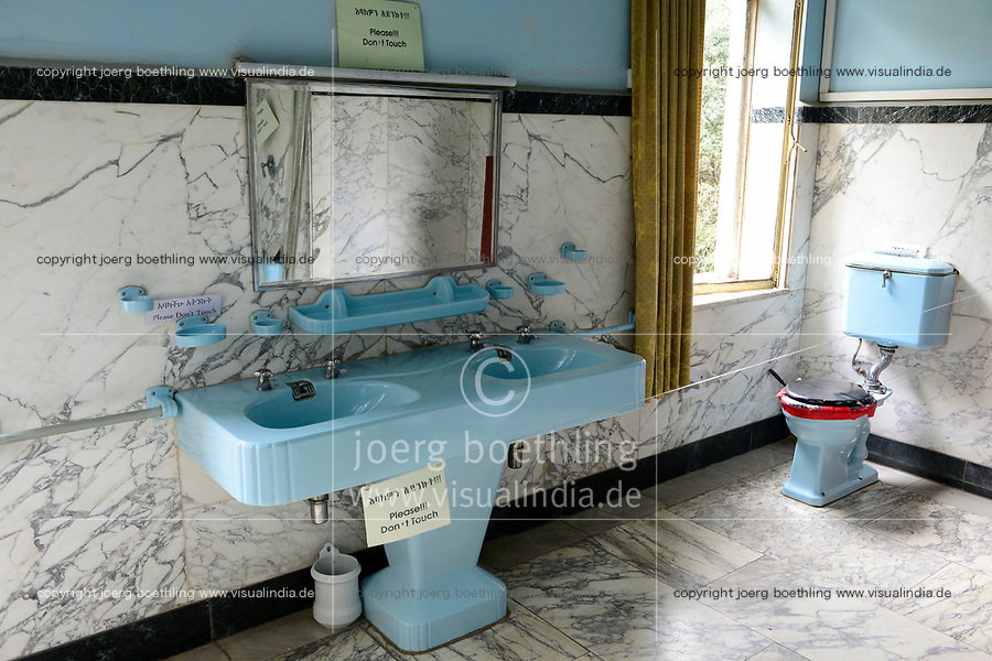 ETHIOPIA , Addis Ababa, , old palace of emperor Haile Selassie, today ethnographical museum of Institute for ethiopian studies, University of Addis Abeba, royal bathroom and toilet