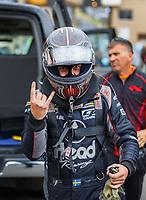 Jul 21, 2017; Morrison, CO, USA; NHRA funny car driver Jonnie Lindberg during qualifying for the Mile High Nationals at Bandimere Speedway. Mandatory Credit: Mark J. Rebilas-USA TODAY Sports
