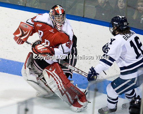 Allen York (RPI - 30), Sean Backman (Yale - 16) - The Rensselaer Polytechnic Institute (RPI) Engineers defeated the Yale University Bulldogs 4-0 on Saturday, January 30, 2010, at Ingalls Rink in New Haven, Connecticut.