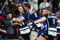 Will Cliff of Bristol Rugby celebrates his first half try with team-mates. Greene King IPA Championship Play-off Final (second leg), between Bristol Rugby and Doncaster Knights on May 25, 2016 at Ashton Gate Stadium in Bristol, England. Photo by: Patrick Khachfe / JMP