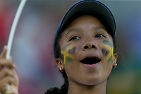 GRENOBLE, FRANCE - JUNE 18: WWC 2019 Jamaica fan during a game between Jamaica and Australia at Stade des Alpes on June 18, 2019 in Grenoble, France.