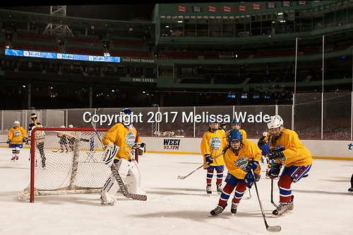 "- Members of the Boston Pride helped put on a clinic for ""Women's and Girls' Hockey Day on Tuesday, January 10, 2017, at Fenway Park in Boston, Massachusetts.The Boston College Eagles defeated the Harvard University Crimson 3-1 on Tuesday, January 10, 2017, at Fenway Park."