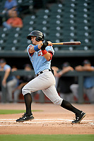 Third baseman Josh Jung (15) of the Hickory Crawdads bats in a game against the Columbia Fireflies on Tuesday, August 27, 2019, at Segra Park in Columbia, South Carolina. Columbia won, 3-2. (Tom Priddy/Four Seam Images)