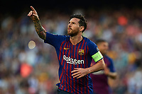 BARCELONA, 18-09-2018. Champions League 2018/ 2019, group B, date 1. Lionel Messi of FC Barcelona celebrates his goal during the game FC Barcelona - PSV Eindhoven<br /> Barcellona 18-09-2018 Camp Nou Football Calcio Uefa Champions League 2018/2019 Group Barcellona - PSV Eindhoven <br /> Foto Pro Shots / Insidefoto <br /> ITALY ONLY