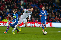 Wednesday 05 March 2014<br /> Pictured: Gareth Bale makes a run with the ball <br /> Re: International friendly Wales v Iceland at the Cardiff City Stadium, Cardiff,Wales UK