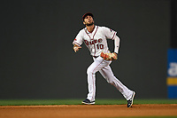 Shortstop C.J. Chatham (10) of the Greenville Drive plays defense in a game against the Rome Braves on Thursday, April 12, 2018, at Fluor Field at the West End in Greenville, South Carolina. Greenville won, 14-4. (Tom Priddy/Four Seam Images)