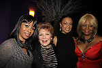"""One Life To Live Valarie Pettiford (3rd L)""""Sheila Price"""" Another World """"Det. Courtney Walker"""" and All My Children Tonya Pinkins (R) """"Livia Frye Cudahy"""" and also As The World Turns """"Heather Dalton"""" perform (sing) as a part of Jamie deRoy & friends. Valarie's sister Atonia (L) and actress Anita Gillette (2nd L) (Search for Tomorrow, A/W and Edge of Night) were in attendance on December 28, 2012 at the Metropolitan Room, NYC, NY. (Photo by Sue Coflin/Max Photos)"""