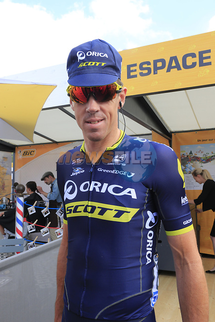 Mathew Hayman (AUS) Orica-Scott in the Tour Village in Mondorf-les-Bains before the start of Stage 4 of the 104th edition of the Tour de France 2017, running 207.5km from Mondorf-les-Bains, Luxembourg to Vittel, France. 4th July 2017.<br /> Picture: Eoin Clarke | Cyclefile<br /> <br /> <br /> All photos usage must carry mandatory copyright credit (&copy; Cyclefile | Eoin Clarke)