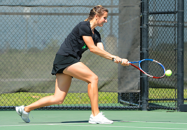 ARLINGTON, TX - APRIL 12: Valentina Starkova of the North Texas mean green tennis team in action against the Troy Trojans at Waranch Ranch Tennis Center in Denton on April 12, 2013 in Denton, Texas. (Photo by Rick Yeatts)
