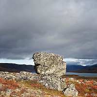 Rock in rugged arctic landscape, Lapland, Sweden