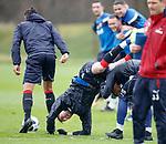 13.04.2018 Rangers training:<br /> Sean Goss takes a tumble as Bruno Alves and Alfredo Morelos let him fall