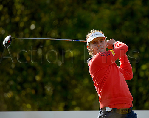 16.10.2014. The London Golf Club, Ash, England. The Volvo World Match Play Golf Championship.  Day 2 group stage matches.  Joost Luiten [NED] tee shot third hole.