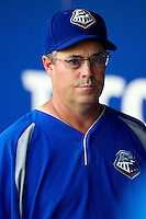 Texas Rangers pitching instructor Greg Maddux in the Round Rock Express during the Pacific Coast League baseball game against the Oklahoma City RedHawks on June 15, 2012 at the Dell Diamond in Round Rock, Texas. The Express shutout the RedHawks 2-1. (Andrew Woolley/Four Seam Images).
