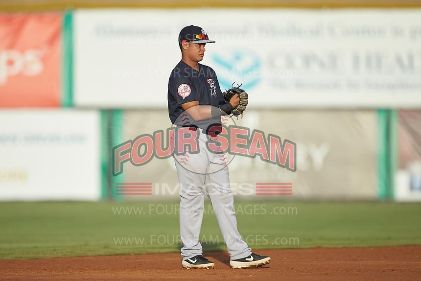 Pulaski Yankees shortstop Jesus Bastidas (39) on defense against the Burlington Royals at Burlington Athletic Stadium on August 25, 2019 in Burlington, North Carolina. The Yankees defeated the Royals 3-0. (Brian Westerholt/Four Seam Images)