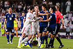 Karim Ansari Fard of Iran (L) talks against to Muroya Sei of Japan (R2) and Shibasaki Gaku of Japan (R) while Tomiyasu Takehiro of Japan (bottom) lies injured during the AFC Asian Cup UAE 2019 Semi Finals match between I.R. Iran (IRN) and Japan (JPN) at Hazza Bin Zayed Stadium  on 28 January 2019 in Al Alin, United Arab Emirates. Photo by Marcio Rodrigo Machado / Power Sport Images