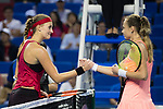 Magdalena Rybarikova of Slovakia (R) shakes hand with Kristina Mladenovic of France (L) after winning the singles Round Robin match of the WTA Elite Trophy Zhuhai 2017 at Hengqin Tennis Center on November  01, 2017 in Zhuhai, China.Photo by Yu Chun Christopher Wong / Power Sport Images