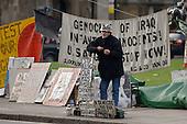 Brian Haw, anti-war protester, at his encampment in Parliament Square, London.