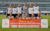 The USWNT lines up before the last group stage game at the Peace Queen Cup.  The USWNT defeated Italy, 2-0, at the Suwon Sports Center in Suwon, South Korea.