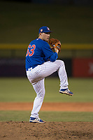 AZL Cubs 1 relief pitcher Jack Patterson (63) delivers a pitch during an Arizona League game against the AZL Cubs 1 at Sloan Park on June 28, 2018 in Mesa, Arizona. The AZL Athletics defeated the AZL Cubs 1 5-4. (Zachary Lucy/Four Seam Images)