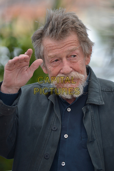 John Hurt.'Only Lovers Left Alive' photocall at the 66th Cannes Film Festival, France 25th May 2013.headshot portrait black jacket beard facial hair hand arm waving .CAP/PL.©Phil Loftus/Capital Pictures.