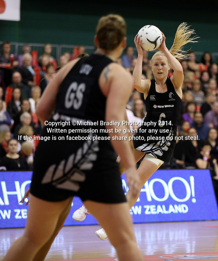 31.10.2014 Silver Ferns Laura Langman in action during the Silver Ferns V England netball match played at the Arena Manawatu in Palmerston North. Mandatory Photo Credit ©Michael Bradley.