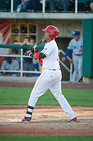 Steven Mateo (9) of the Orem Owlz at bat against the Ogden Raptors in Pioneer League action at Home of the Owlz on June 20, 2015 in Provo, Utah.The Raptors defeated the Owlz 9-6.  (Stephen Smith/Four Seam Images)