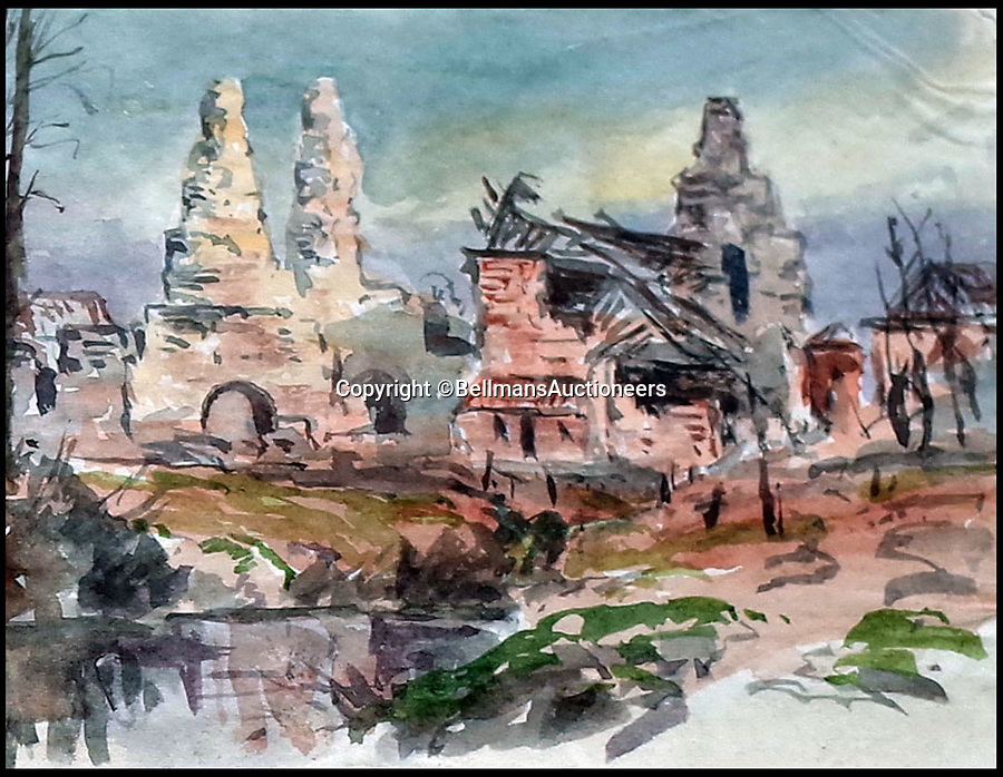 BNPS.co.uk (01202 558833)<br /> Pic: BellmansAuctioneers/BNPS<br /> <br /> Ruined Neuve Chapelle.<br /> <br /> A collection of beautiful First War watercolours that offer a fascinating glimpse into one man's life in the trenches has emerged for sale a century later.<br /> <br /> Talented artist Finlay Mackinnon, who exhibited multiple times at the prestigious Royal Academy, answered the call to sign up in 1914 and spent almost all of the First World War fighting in France.<br /> <br /> But in his free time on the front he did what he loved best, capturing life in the trenches and also the beauty of their bleak surroundings in his pictures.<br /> <br /> Bellmans Auctioneers, who are selling the album of artwork, know little about the provenance of the album, which is expected to fetch £4,000 at auction.