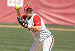 MADISON, WI - APRIL 16: Theresa Boruta #14 of the Wisconsin Badgers softball team throws the ball against the Indiana Hoosiers at Goodman Diamond on April 16, 2007 in Madison, Wisconsin. (Photo by David Stluka)