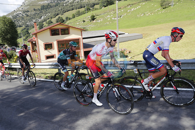 Part of the breakaway group Slovakian Champion Novak Domen (SLO) Bahrain-Merida, Jesus Herrada (ESP) Cofidis and Felix Grossschartner (AUT) Bora-Hansgrohe during Stage 13 of La Vuelta 2019 running 166.4km from Bilbao to Los Machucos, Spain. 6th September 2019.<br /> Picture: Luis Angel Gomez/Photogomezsport | Cyclefile<br /> <br /> All photos usage must carry mandatory copyright credit (© Cyclefile | Luis Angel Gomez/Photogomezsport)
